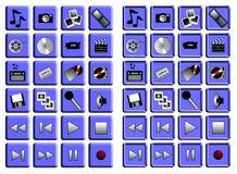 Jogo do ícone dos multimédios Imagem de Stock