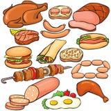 Jogo do ícone dos produtos de carne Imagem de Stock Royalty Free