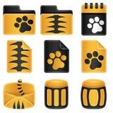 Jogo do ícone dos tigres Fotografia de Stock Royalty Free