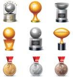Jogo do ícone dos troféus e das medalhas do esporte do vetor Fotos de Stock