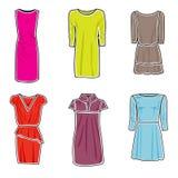 Jogo do ícone dos vestidos Imagens de Stock