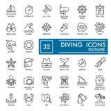 Jogo do ícone do Web verão, ícones do vetor do mergulho do mar isolados no branco Ícones lisos do esboço do thine Eps 10 Fotografia de Stock