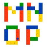 Jogo do alfabeto feito de blocos do tijolo da construção do brinquedo Ilustração Royalty Free