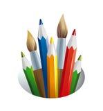 Jogo do artista. escovas e lápis Fotografia de Stock