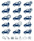 Jogo do azul dos ícones do serviço do carro Fotografia de Stock Royalty Free