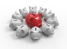 Jogo do banco Piggy rendição 3d Imagem de Stock Royalty Free