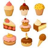 Jogo do bolo dos desenhos animados isolado no branco Imagens de Stock