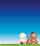 Jogo do céu azul de bebês Fotografia de Stock Royalty Free
