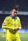 Jogo 2016 do círculo de qualificação do EURO do UEFA Ucrânia contra a Espanha Imagens de Stock