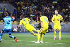 Jogo 2016 do círculo de qualificação do EURO do UEFA Ucrânia contra a Espanha Fotografia de Stock