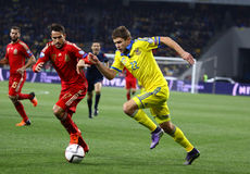 Jogo 2016 do círculo de qualificação do EURO do UEFA Ucrânia contra a Espanha Imagem de Stock