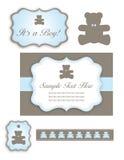 Jogo do chuveiro de bebê do urso dos ícones e dos Tag Imagem de Stock Royalty Free