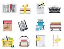 Jogo do ícone da biblioteca do vetor e da loja de livro Imagem de Stock