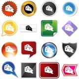 Jogo do ícone da cunha do queijo Fotos de Stock Royalty Free