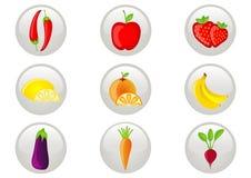 Jogo do ícone da fruta e verdura Imagens de Stock Royalty Free