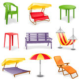 Jogo do ícone da mobília do jardim Imagem de Stock Royalty Free