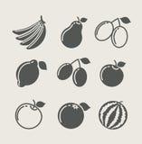 Jogo do ícone do alimento da fruta Fotografia de Stock