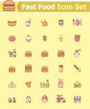 Jogo do ícone do fast food Imagens de Stock Royalty Free
