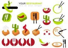 Jogo do ícone do restaurante Fotografia de Stock Royalty Free