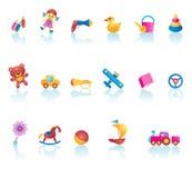 Jogo do ícone dos brinquedos do miúdo Fotos de Stock Royalty Free