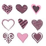 Jogo do ícone dos corações Fotografia de Stock Royalty Free