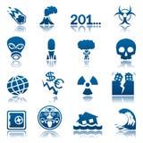 Jogo do ícone dos disastres apocalípticos e naturais Fotos de Stock Royalty Free