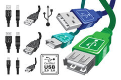 Jogo do conector do Usb Fotos de Stock Royalty Free
