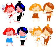 Jogo do convite isolado do casamento dos desenhos animados dos pares Imagem de Stock