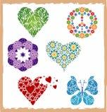 Jogo do coração/borboleta/flor dos ícones Fotos de Stock