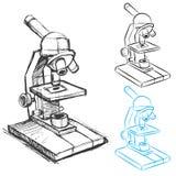 Jogo do desenho do microscópio Imagem de Stock Royalty Free