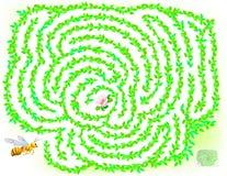 Jogo do enigma da lógica com o labirinto para crianças e adultos Ajude a abelha a encontrar a maneira até a flor ilustração royalty free
