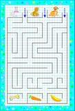 Jogo do enigma da lógica com o labirinto para crianças em um papel quadrado Ajude os animais a encontrar a maneira até seu alimen ilustração stock