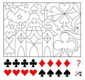 Jogo do enigma da lógica Encontre quatro vezes dos ternos de cada cartão escondidos na imagem e pinte-os Página da folha para cri Foto de Stock Royalty Free