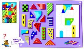 Jogo do enigma da lógica para crianças com imagem para o livro para colorir Precise de encontrar o lugar para todos os detalhes e ilustração do vetor