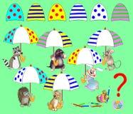 Jogo do enigma da lógica para crianças Detalhes correspondentes do achado e para tirá-los em lugares vazios Todos os guarda-chuva ilustração stock