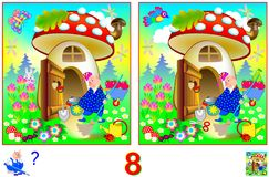Jogo do enigma da lógica para crianças e adultos Necessidade de encontrar 8 diferenças Imagens de Stock