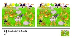 Jogo do enigma da lógica para crianças e adultos Necessidade de encontrar 9 diferenças Página para o livro do bebê Habilidades to ilustração royalty free