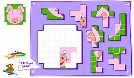 Jogo do enigma da lógica para crianças no papel quadrado Precise de encontrar o lugar para todos os detalhes e de pintar a imagem ilustração do vetor