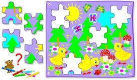Jogo do enigma da lógica para jovens crianças Precise de encontrar partes faltantes de imagem e de tirá-las em lugares corretos Foto de Stock Royalty Free