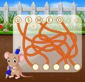 Jogo do enigma da lógica para o inglês do estudo com rato ilustração stock
