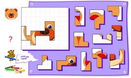 Jogo do enigma da l?gica para crian?as no papel quadrado Precise de encontrar o lugar para todos os detalhes e de pintar a imagem ilustração royalty free