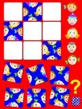 Jogo do enigma da lógica com caras engraçadas Precise de encontrar o lugar correto para cada parte Fotografia de Stock