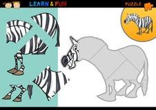 Jogo do enigma da zebra dos desenhos animados Fotografia de Stock Royalty Free