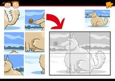 Jogo do enigma de serra de vaivém do cão dos desenhos animados Fotos de Stock