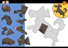 Jogo do enigma de serra de vaivém do cão dos desenhos animados Fotografia de Stock