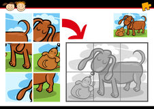 Jogo do enigma de serra de vaivém do cachorrinho dos desenhos animados Fotografia de Stock
