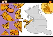 Jogo do enigma de serra de vaivém do gato dos desenhos animados Fotos de Stock Royalty Free