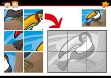Jogo do enigma de serra de vaivém do tucano dos desenhos animados Imagem de Stock