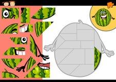 Jogo do enigma de serra de vaivém da melancia dos desenhos animados Imagens de Stock