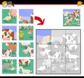 Jogo do enigma de serra de vaivém com os animais de exploração agrícola dos desenhos animados ilustração stock